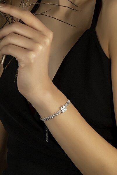 Swaroski Gümüş Bileklik Swarovskı Taşlı Kırlangıç Temalı Bileklik