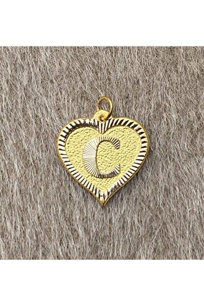 Bayar Gold Kadın Sarı Kalpli Nostaljik C Harfli Altın Kolye Ucu 14 Ayar