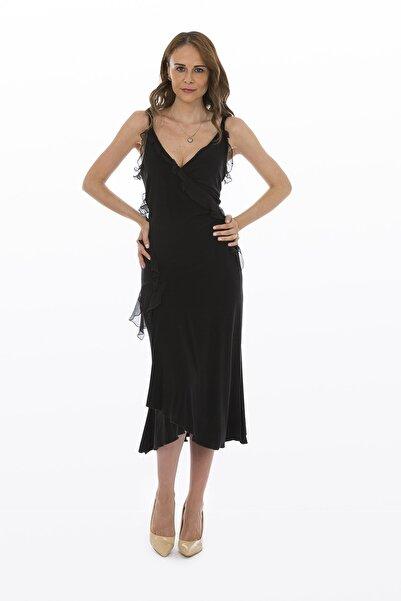 Bosca Kadın Siyah Askılı İpek Şifon Fırfır Detaylı Salaş Görünümlü Yan Yırtmaçlı Uzun Elbise