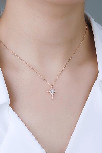 MISS HELEN 925 Ayar Gümüş Minimal Beyaz Taşlı Kutup Yıldızı Kolye