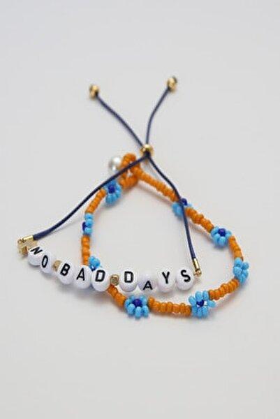 No Bad Days Renkli Yazılı Bileklik Seti