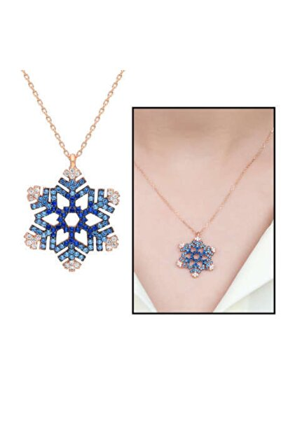 Kristal Gümüş Kar Tanesi Tasarım Mavi Zirkon Taşlı 925 Ayar Gümüş Bayan Kolye