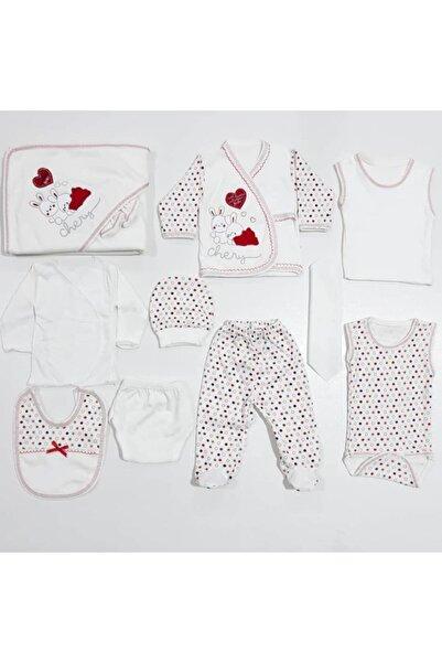 bebegen Unisex Bebek Krem Kalpli Tavşan Puanlı 11 Parça Hastane Çıkış Seti