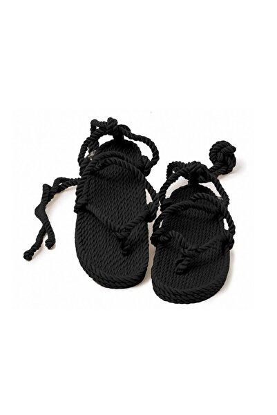 Nomadic State Of Mind Kadın Siyah Hasır İp Sandalet