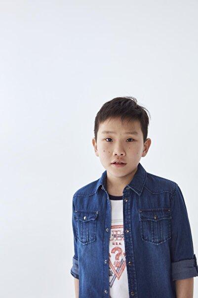 Guess Erkek Çocuk Mavi Jean Gömlek 20ssgl01h10