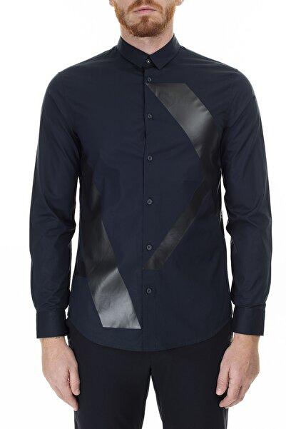 Armani Exchange Erkek Lacivert Logo Baskılı Regular Fit Uzun Kollu Gömlek