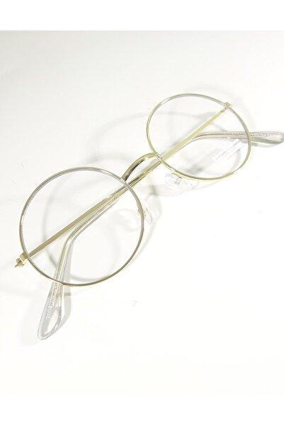 Kinary Unisex Beyaz Yuvarlak Gözlük Retro Metal Şeffaf Lens