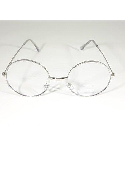 Kinary Unisex Gümüş Gözlük Retro Metal Şeffaf Lens