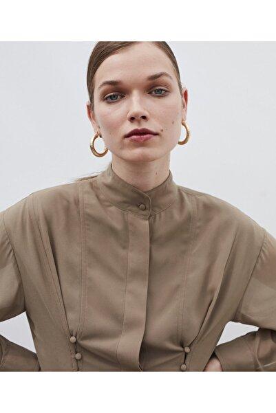 İpekyol Kadın Kahverengi Düğme Şeritli Tunik