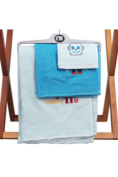 MOTHERCARE Erkek Çocuk Mavi Robot Havlu Takımı 3'lü