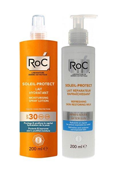 Roc Nemlendiricili Güneş Korumalı Vücut Spreyi Spf30 200 ml Onarıcı Güneş Sonrası Sütü 200 ml