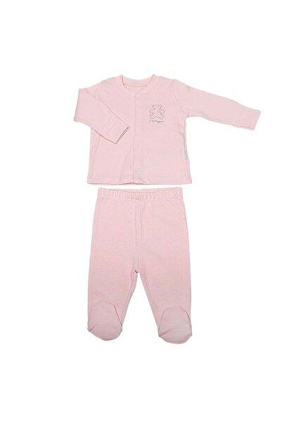 KitiKate Kız Bebek Pembe Önden Çıtçıtlı Pijama Takımı