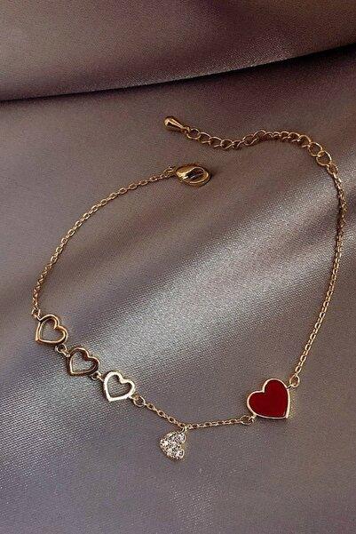 Roza Silver Kadın Kırmızı Rose Gold Kalp Motifli Zarif Gümüş Bileklik