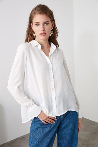 TRENDYOLMİLLA Ekru Basic Gömlek TWOAW21GO0303