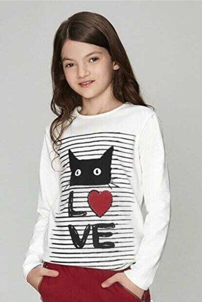 Wonder Kıds Wonder Kids Kedi Baskılı Uzun Kollu Bluz