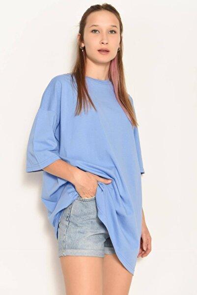 Addax Kadın İndigo Basic Tişört P0948 - E4 ADX-0000022346