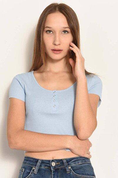 Addax Kadın Bebe Mavi Çıtçıt Detaylı Tişört P0867 - DK3 ADX-0000021736