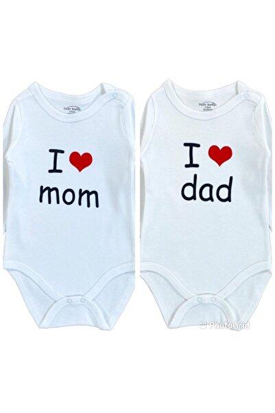 Fuar Baby 2 Adet Pamuklu Kız Erkek Bebek I Love Mom Dad Uzun Kollu Çocuk Çıtçıtlı Badi