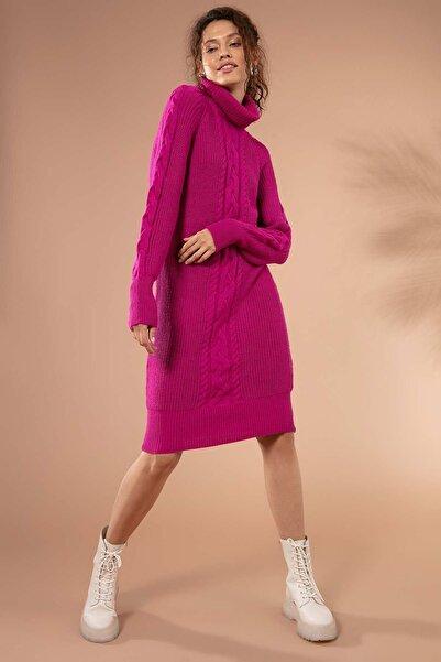 Y-London Kadın Fuşya Degaje Yaka Ön Ve Kolları Saçlı Triko Elbise Y19W109-80191