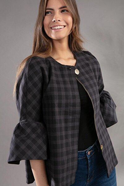 Y-London Kadın Ekose Desenli Volan Kol Detaylı Fermuarlı Yakasız Ceket 3986