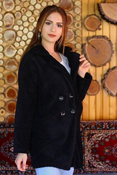 Modaymış Kadın Siyah Çift Düğmeli Peluş Mont 4460.1153. - Z.d