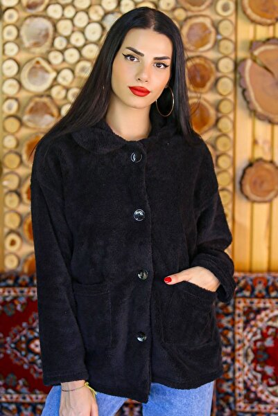 Modaymış Kadın Siyah Düğmeli Peluş Mont  - 4461.1153. - Z.d