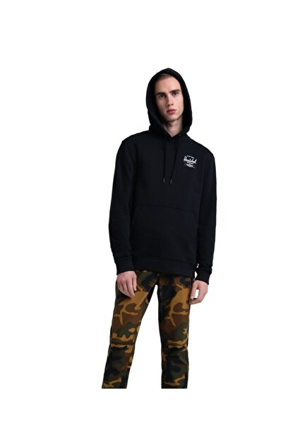 Herschel Supply Co. Erkek Siyah Baskılı Sweatshirt