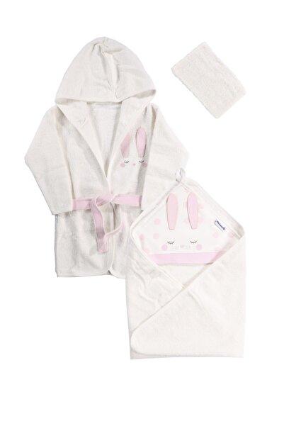Miniworld Kız Bebek Beyaz  Uyuyan Tavşan Bornoz Seti