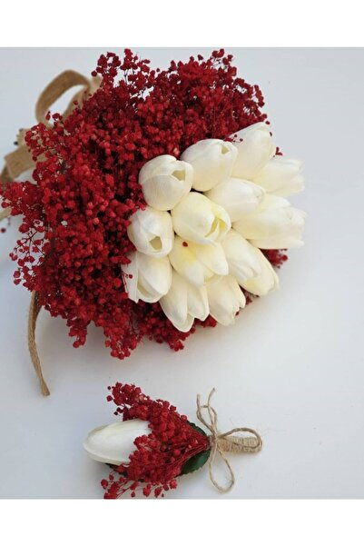 Evsay Gelin Buketi Islak Lale Gelin Eli Çiçeği Ve Damat Yaka Çiçeği Hediyeli