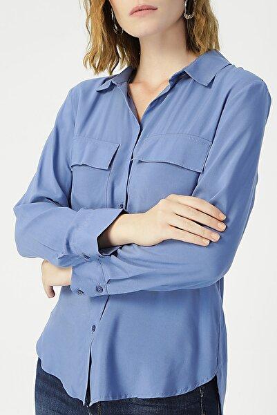 RANDOM Kadın Mavi Uzun Kollu Klasik Gömlek