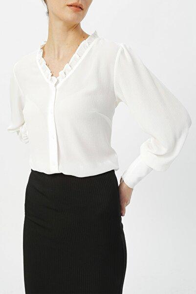 RANDOM Kadın Kolu Fermuar Detaylı V Yaka Gömlek