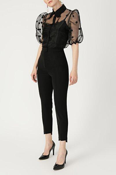 RANDOM Kadın Puantiyeli Balon Kol Siyah Gömlek