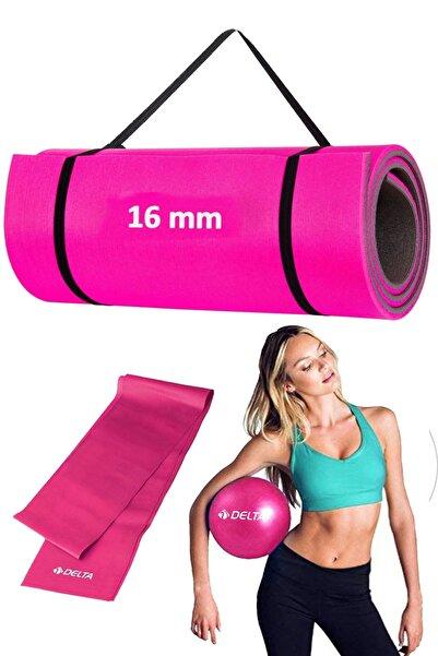 Delta 3lü Pilates Seti 16 Mm Pilates Minderi Matı, 120x15 Cm Pilates Bandı, 20 Cm Plates Topu