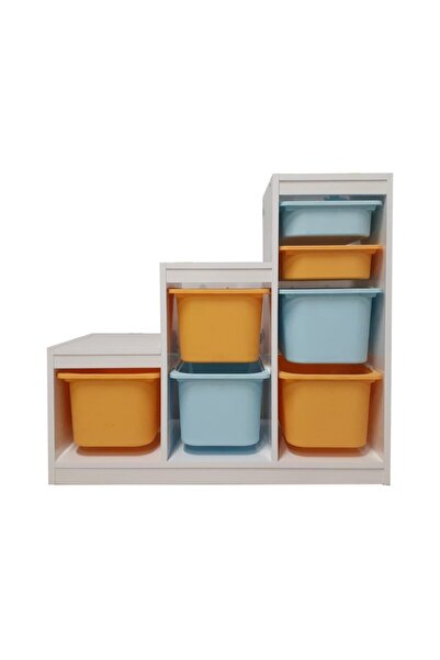 Alyans Montessori Sarı-Mavi Sepet Basamaklı Oyuncak Dolabı Saklama Ünitesi