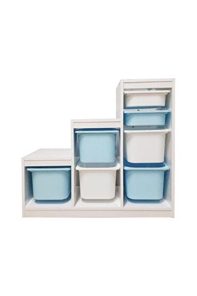 Alyans Montessori Mavi Beyaz Sepet Basamaklı Oyuncak Dolabı Saklama Ünitesi