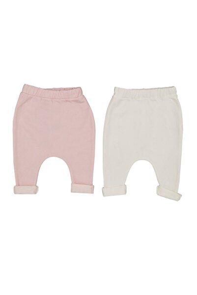 İDİL BABY Kız Bebek Pembe Beyaz 2'li  Pantalon  14066