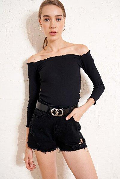 Eka Kadın Siyah Fırfır Detaylı Madonna Yaka Fitilli Bluz