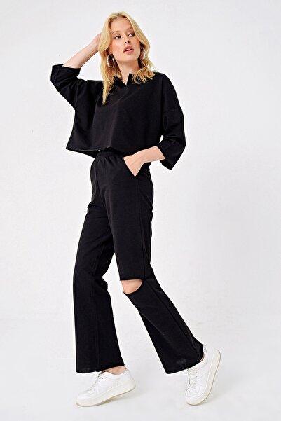 Trend Alaçatı Stili Kadın Siyah Polo Yaka Alt Üst Takım ALC-505-MDS