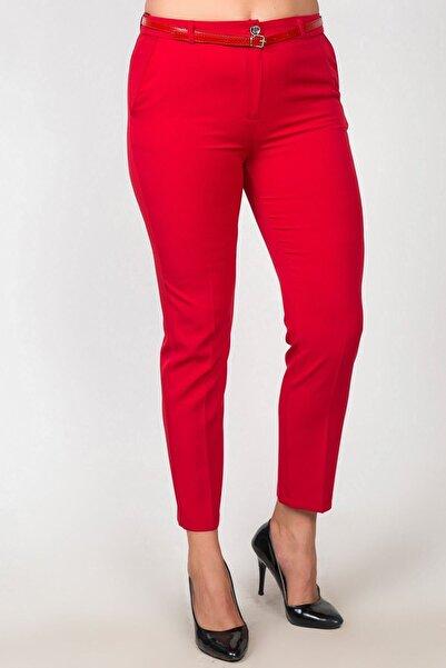 Womenice Kadın Kırmızı Yüksek Bel Klasik Kumaş Büyük Beden Pantolon