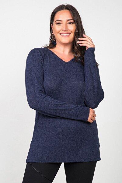 Womenice Kadın Lacivert Basic Uzun Kollu Büyük Beden Bluz