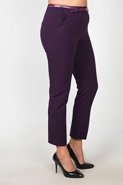Womenice Kadın Mürdüm Bel Klasik Kumaş Büyük Beden Pantolon