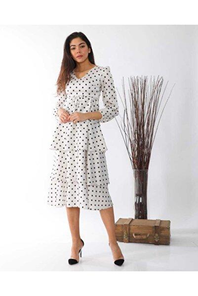 NİCE Kadın Beyaz Kat Kat Saten Elbise
