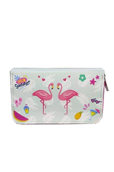 Limmy Ikili Flamingo Desenli Modelist Kalem Kutusu Üç Bölmeli