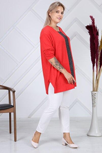 LİKRA Kadın Kırmızı Büyük Beden Lame Şerit Detay Verev Kesim Lı Yünlü Viskon Bluz
