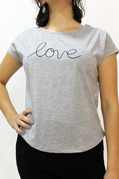 Cazador 4393 Bayan Love Işleme Kısa T-shirt Gri