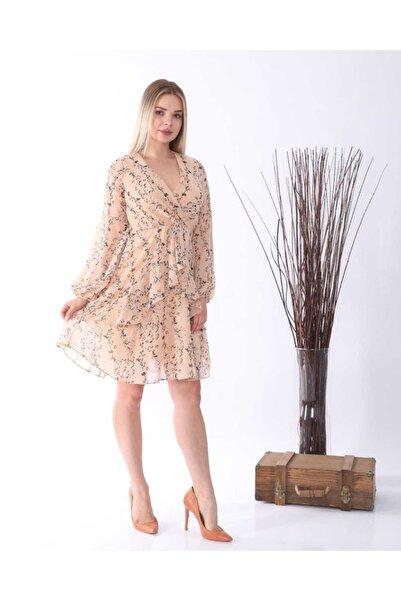NİCE Kadın Bej Desenli Şifon Elbise