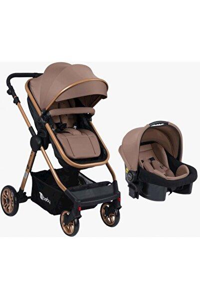 4 Baby Cool Gold Travel Sistem Pusetli Bebek Arabası Kahverengi