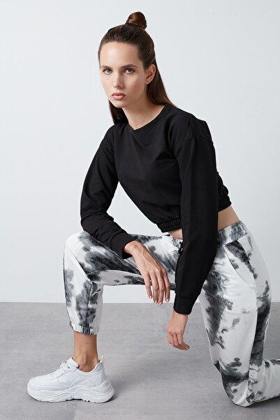 Lela Kadın Siyah Belden Bağlamalı Cepli Paçası Lastikli Pantolon