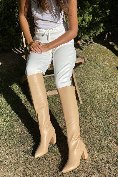 İnan Ayakkabı Bej Cilt Kadın Sivri Burun Uzun Model Çizme 20152MHM