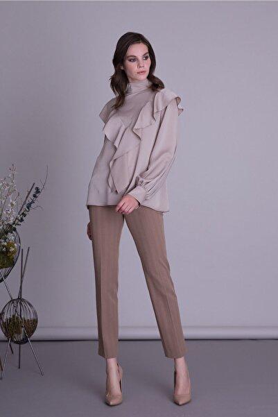 GIZIA CASUAL Kadın Kahverengi Boru Paça Kumaş Pantolon